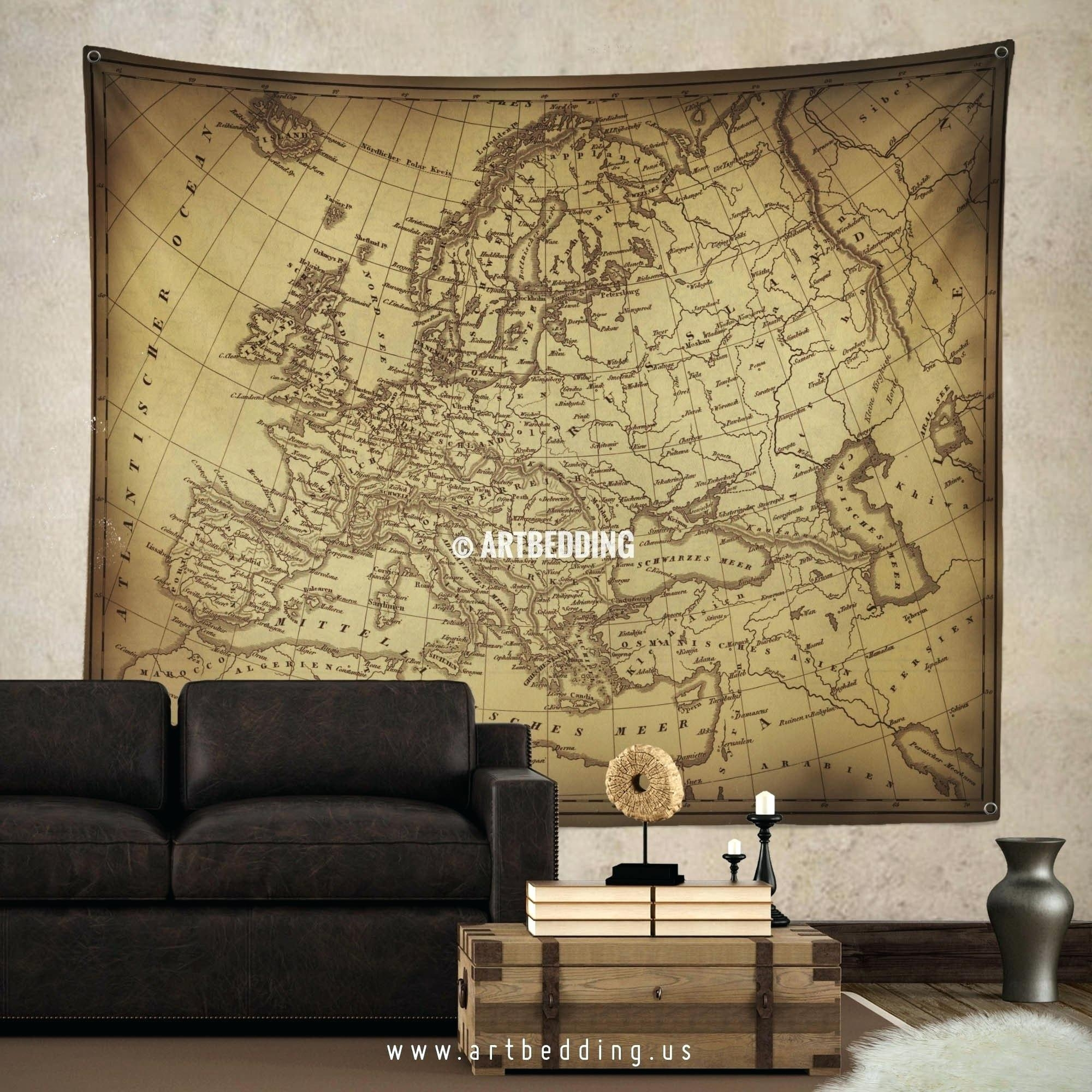 Wall Ideas : Vintage World Map Wall Tapestry Vintage Interior With Regard To Old World Map Wall Art (Image 14 of 20)