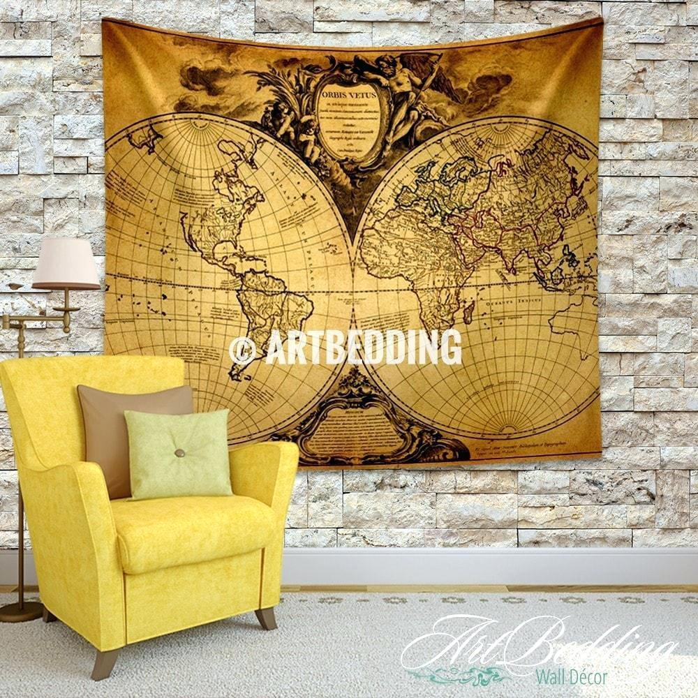 Wall Ideas : World Map Wall Art Canvas Vintage Stellar Map Wall Inside Vintage Map Wall Art (Image 19 of 20)