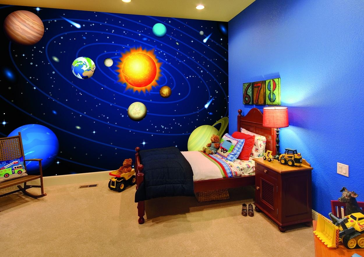 Wall Murals That Transform Your Home From Wallsauce 2017 Regarding Solar System Wall Art (Image 20 of 20)