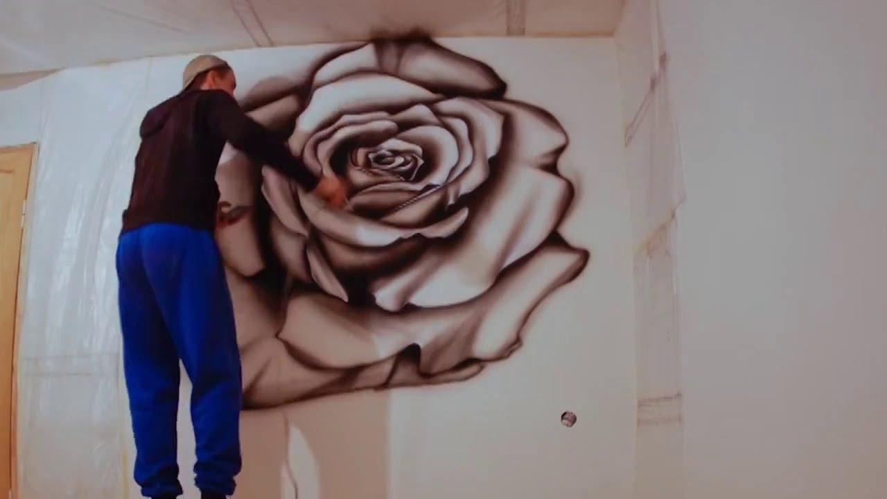 Wall Painting, Airbrushing Red Rose (Image 20 of 20)