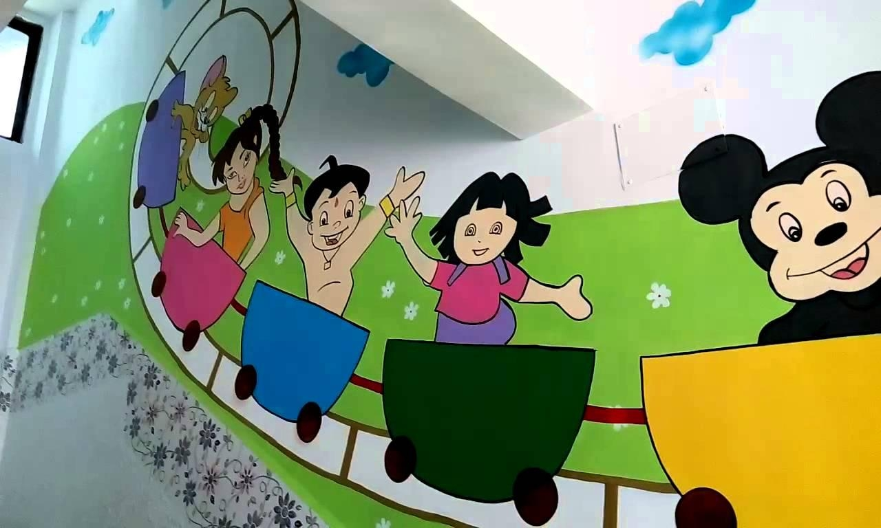Wall Painting Designs For Play School India – Youtube For Preschool Wall Art (View 12 of 20)