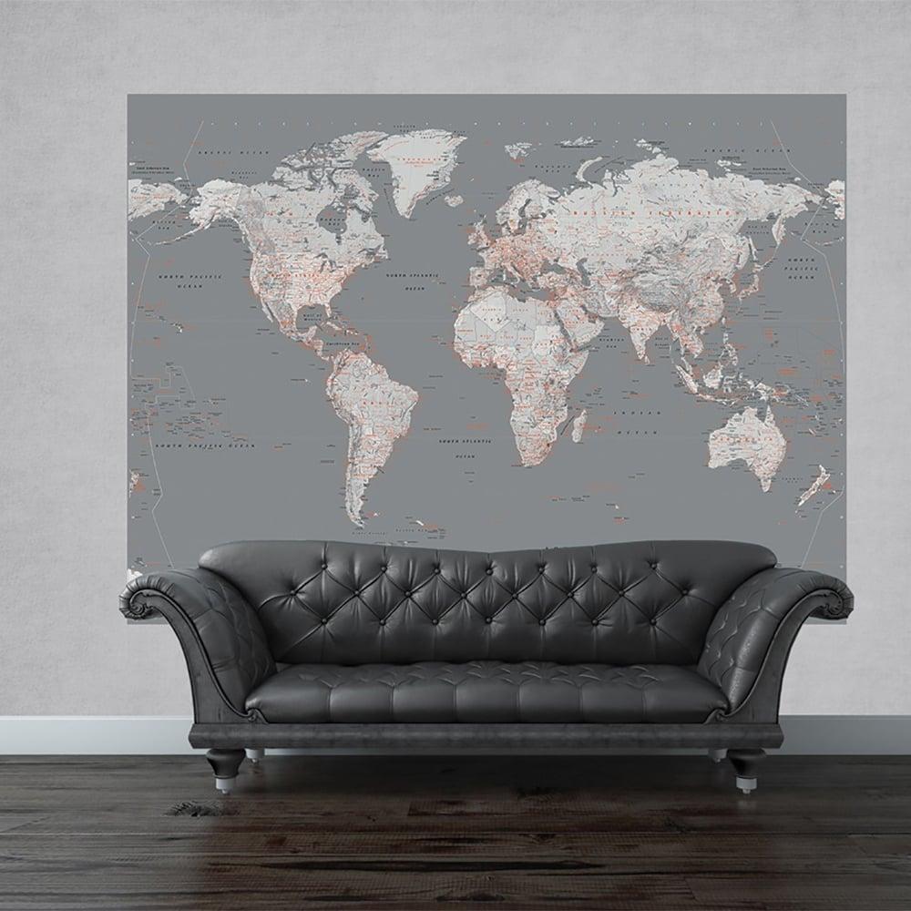 Wall Silver Map Mural World Globe Atlas Wall Art 2.32 X (View 4 of 20)