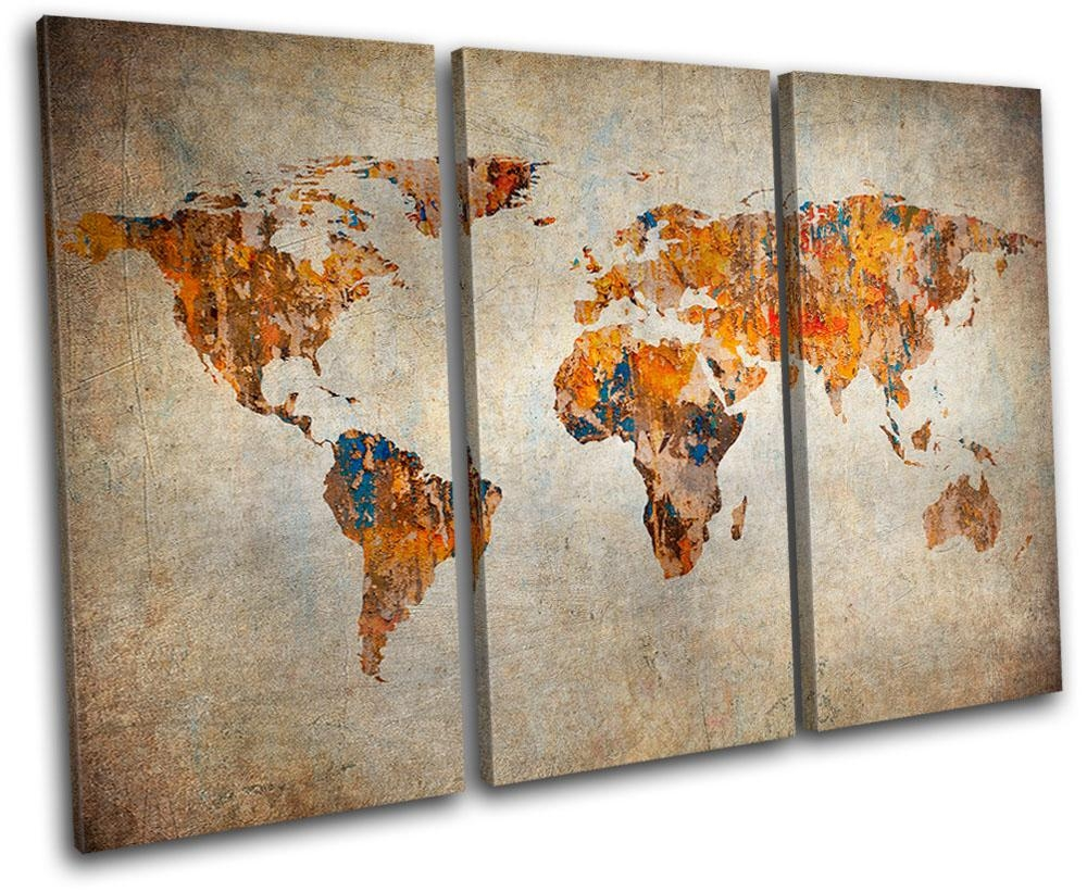 Wall Size World Map Canvas - Hd Nature Wallpaper within Atlas Wall Art