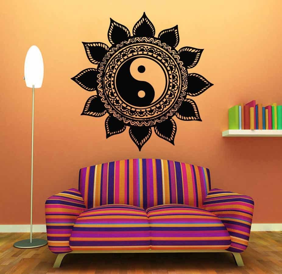 Wall Sticker Home Decal Buddha Yin Yang Floral Yoga Meditation With Yin Yang Wall Art (View 11 of 20)