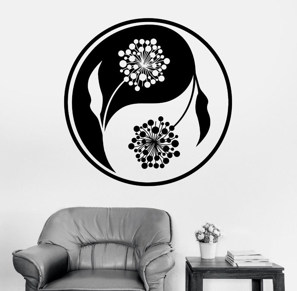 Wall Sticker Home Decal Buddha Yin Yang Floral Yoga Meditation With Yin Yang Wall Art (View 20 of 20)