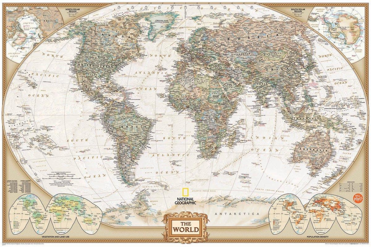 Wallpops! Wall Art Kit National Geographic World Map Wall Mural Regarding Maps For Wall Art (View 17 of 20)