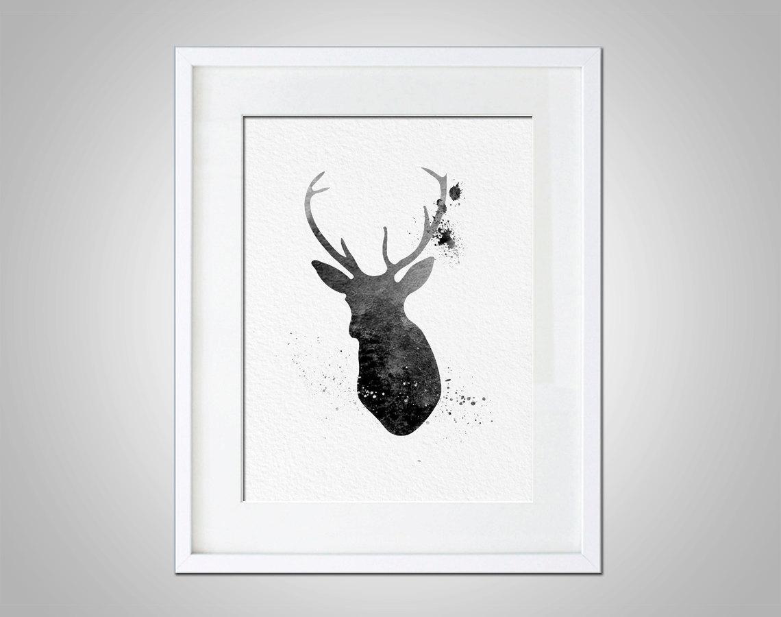 Watercolor Art Buck Deer Gift Modern 8X10 Wall Art Decor Buck Deer Inside Stag Wall Art (Image 20 of 20)