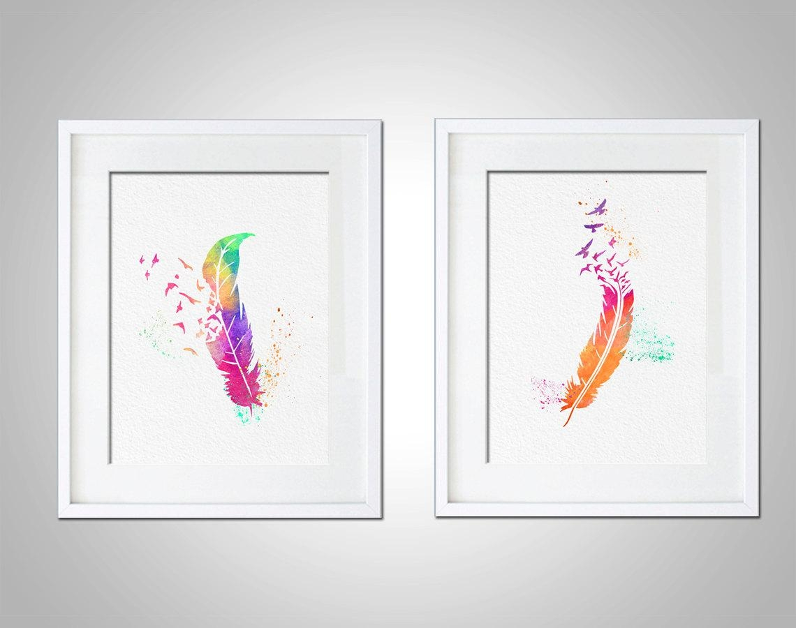 Watercolor Art Print Rainbow Feather Birds Set Of 2 Modern 8X10 Within Wall Art Print Sets (View 6 of 20)