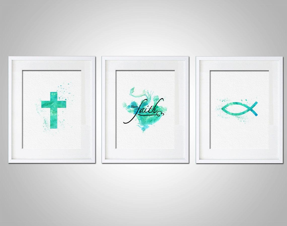 Watercolor Art Print Religious Have Faith Art Print Set Of 3 Within Wall Art Print Sets (View 9 of 20)