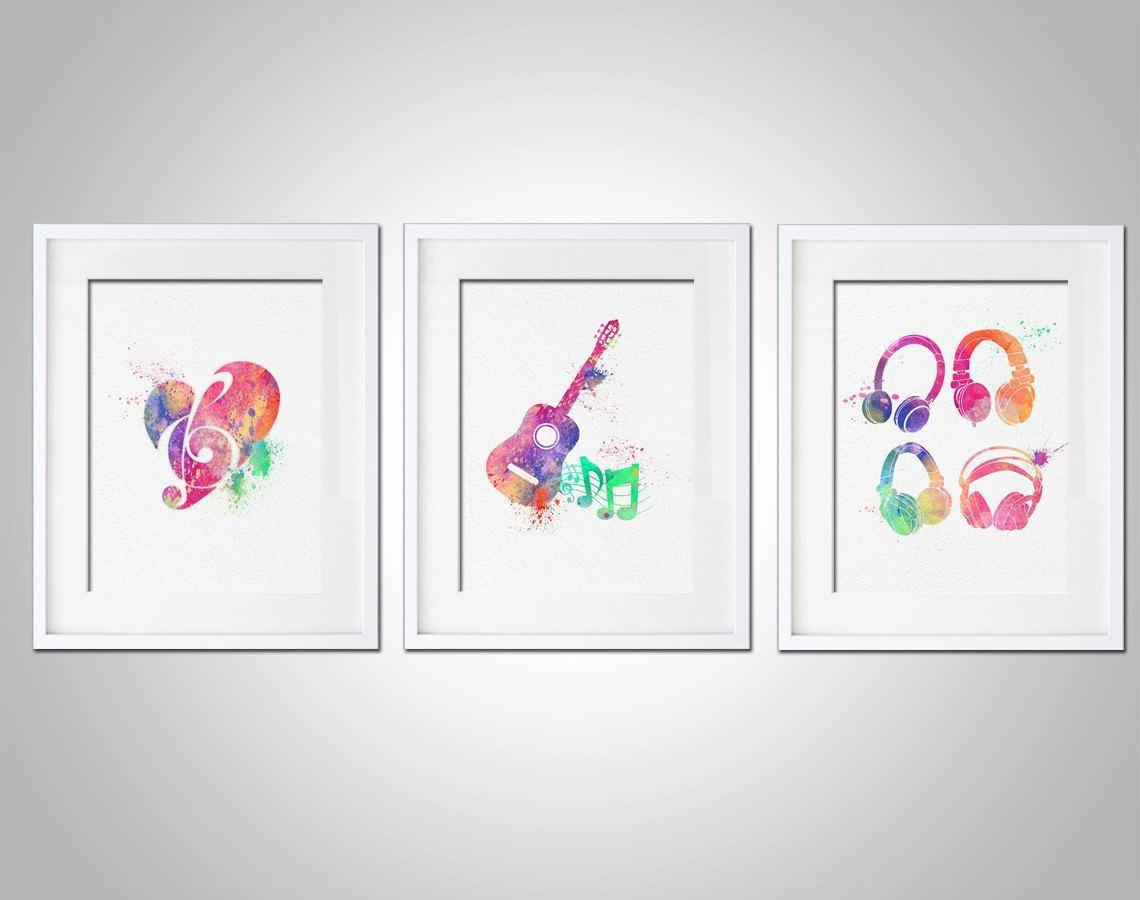 Watercolor Art Print Set Of 3 Modern 8X10 Wall Art Decor Throughout Matching Wall Art (Image 20 of 20)