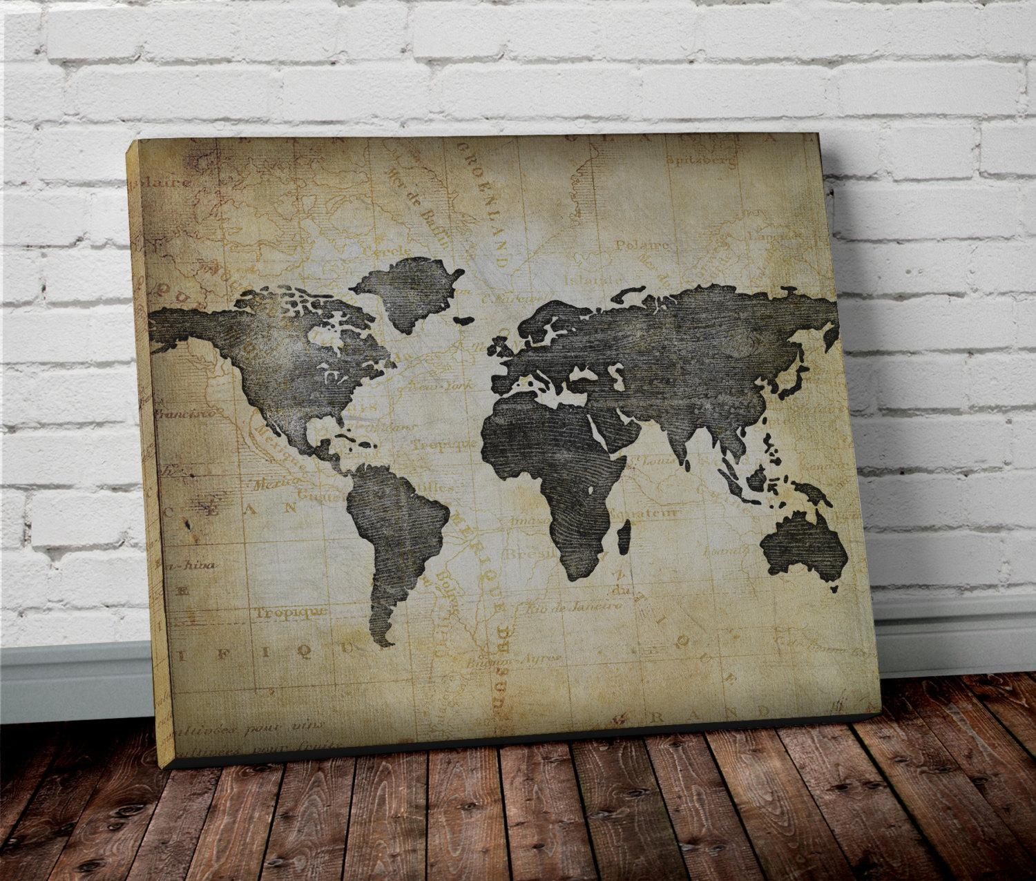 Watercolor Coral World Map Wall Art Project Cottage Within Maps For Wall Art  (Image 17
