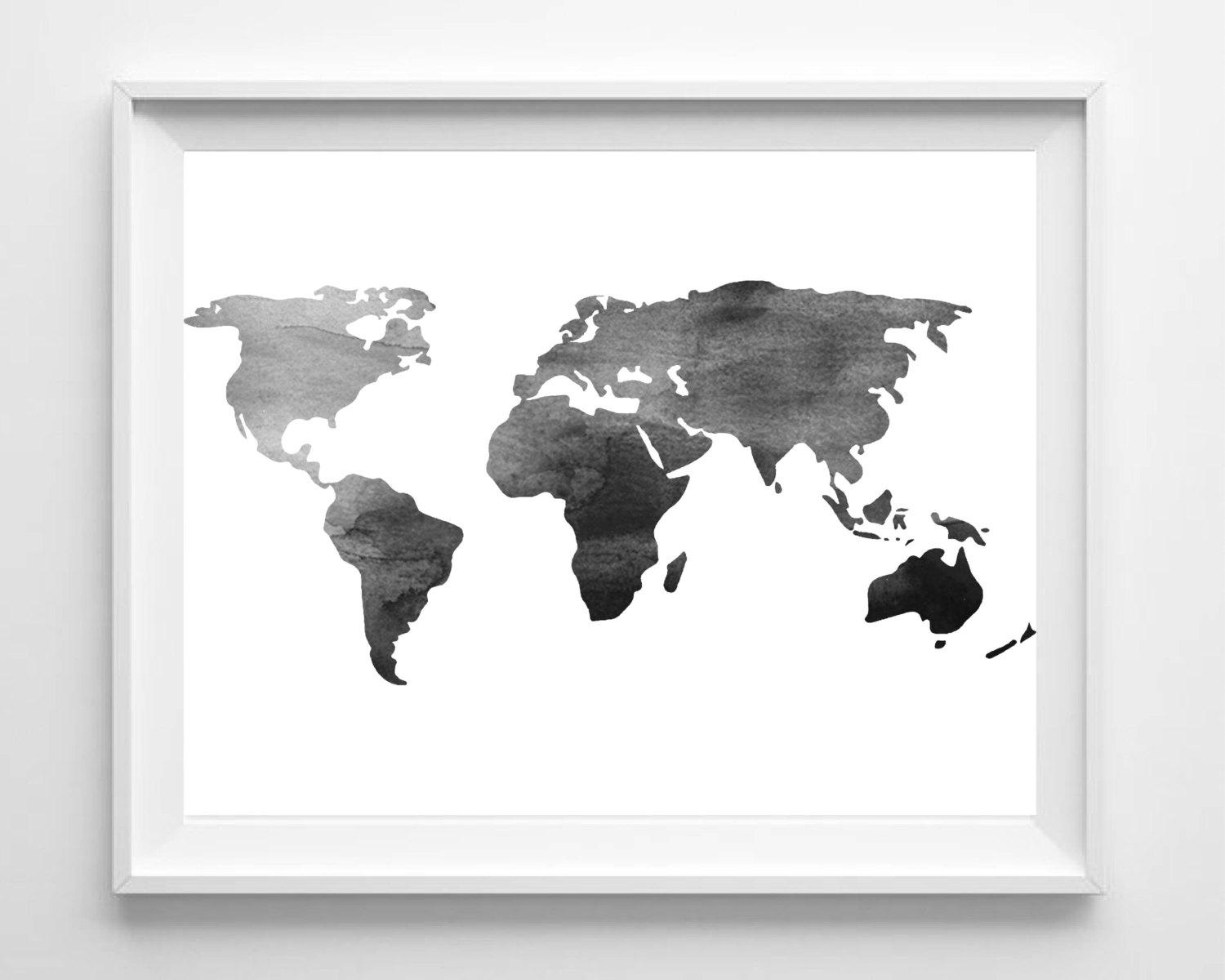 Watercolor World Map Print Printable Black White Wall Art For Black And White Wall Art (Image 19 of 20)
