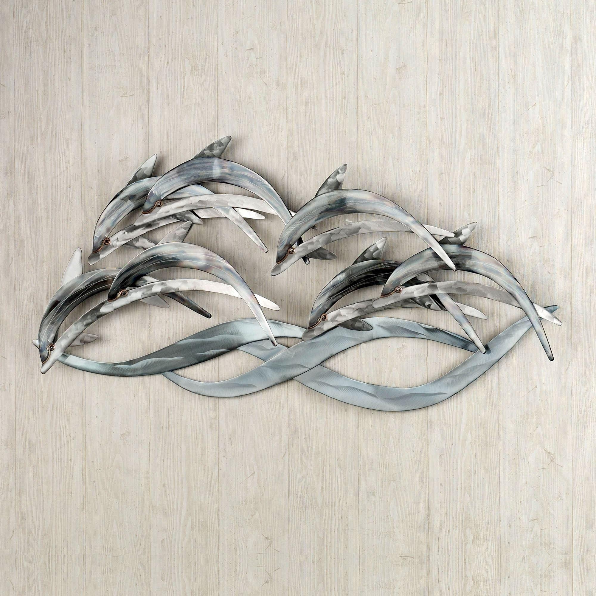 Wave Dancers Dolphin Stainless Steel Wall Sculpture Pertaining To Stainless Steel Outdoor Wall Art (Image 20 of 20)