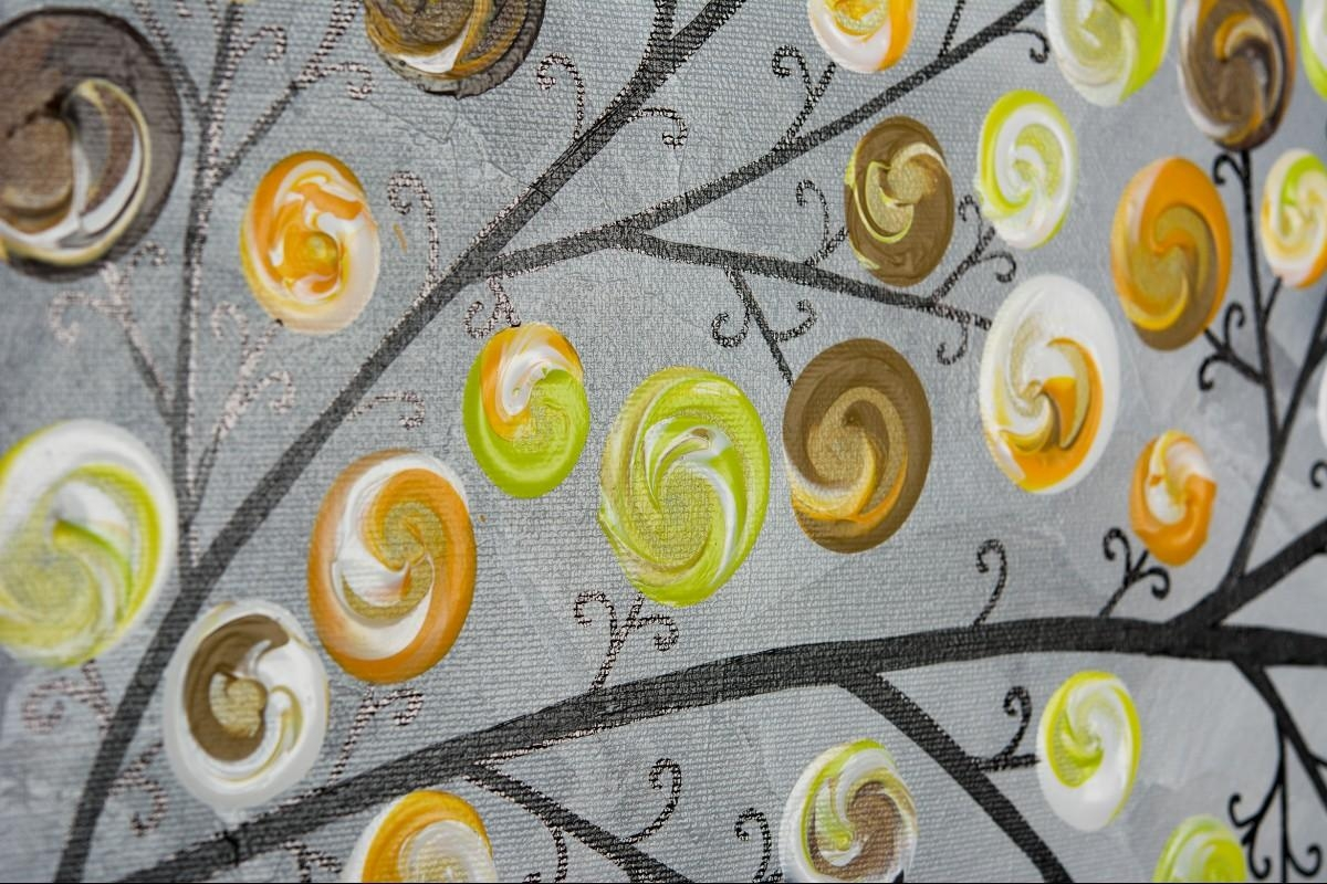 """Weeping Willowqiqigallery 48"""" X 24"""" Original Landscape Art With Yellow Grey Wall Art (Image 17 of 20)"""