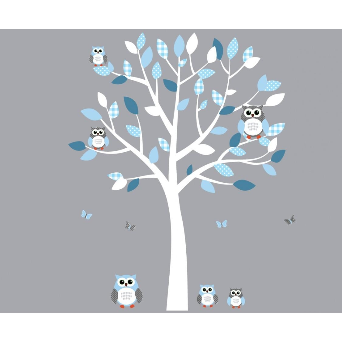 White And Blue Owl Stickers With Wall Decals Tree For Play Rooms For Owl Wall Art Stickers (View 18 of 20)