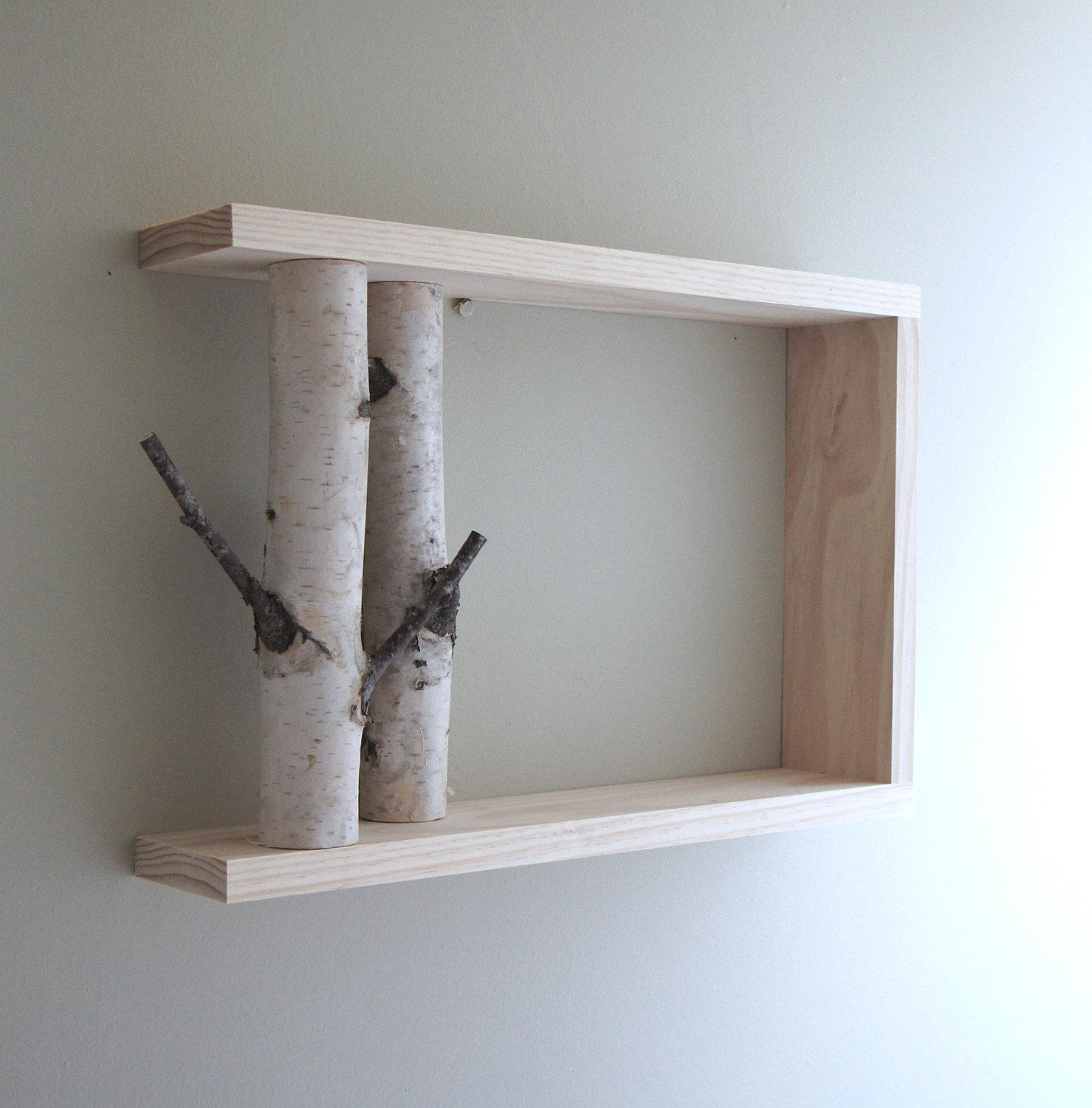 White Birch Forest Wall Art/shelf 18X12 Birch Shelf Within White Wooden Wall Art (Image 18 of 20)