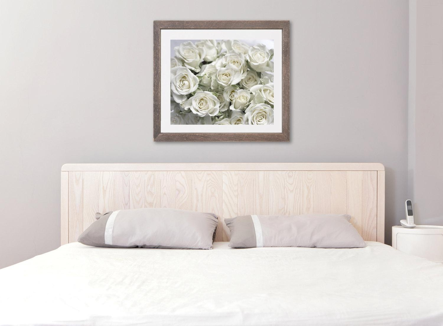 White Roses Floral Bathroom Bedroom Wall Decor | Large Shabby Chic Art With Regard To Shabby Chic Canvas Wall Art (Image 20 of 20)