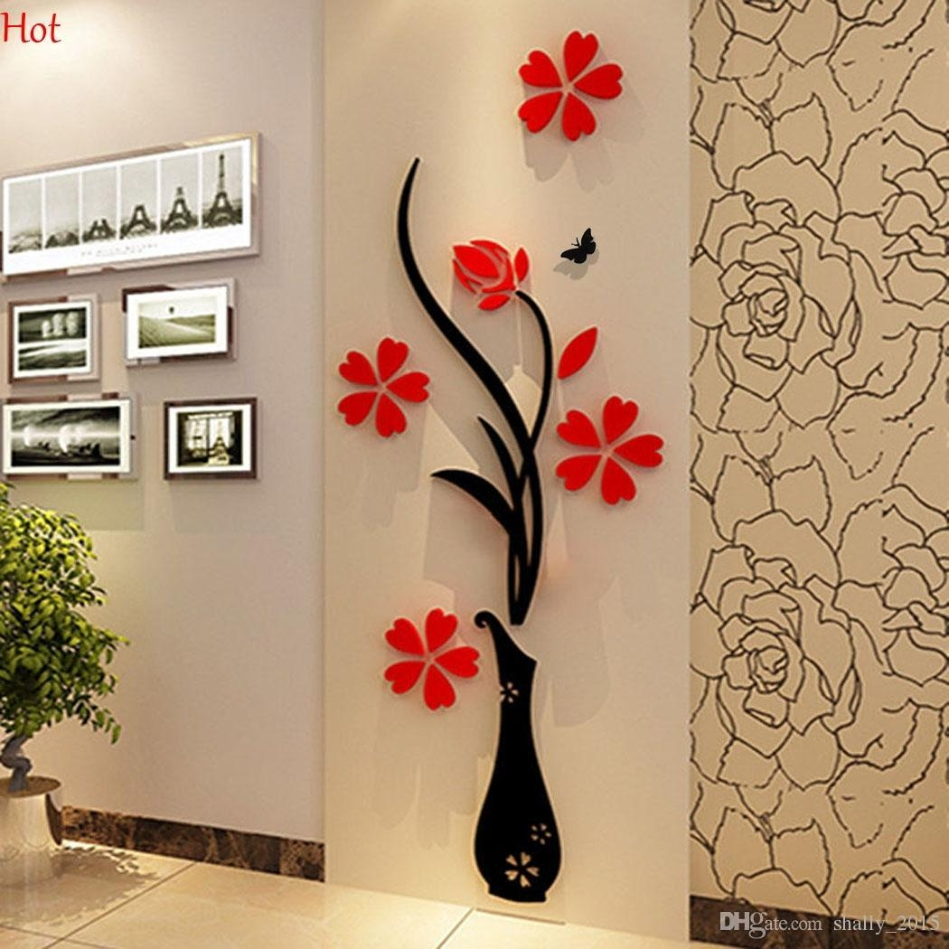 Wholesale Wall Stickers Acrylic 3D Plum Flower Vase Stickers Vinyl Intended For 3D Tree Wall Art (Image 20 of 20)