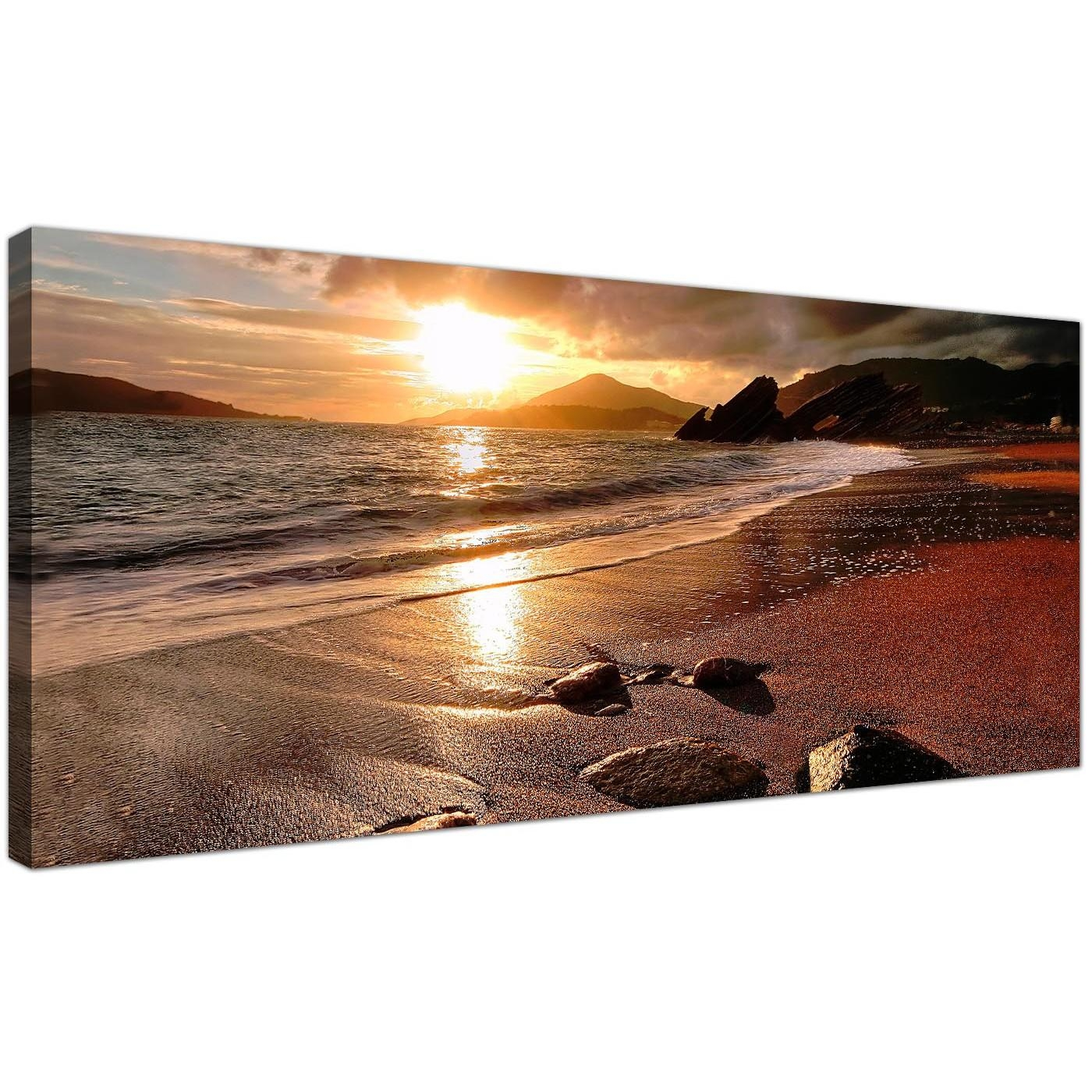 Wide Canvas Prints Of A Beach Sunset For Your Living Room Regarding Nautical Canvas Wall Art (Image 20 of 20)