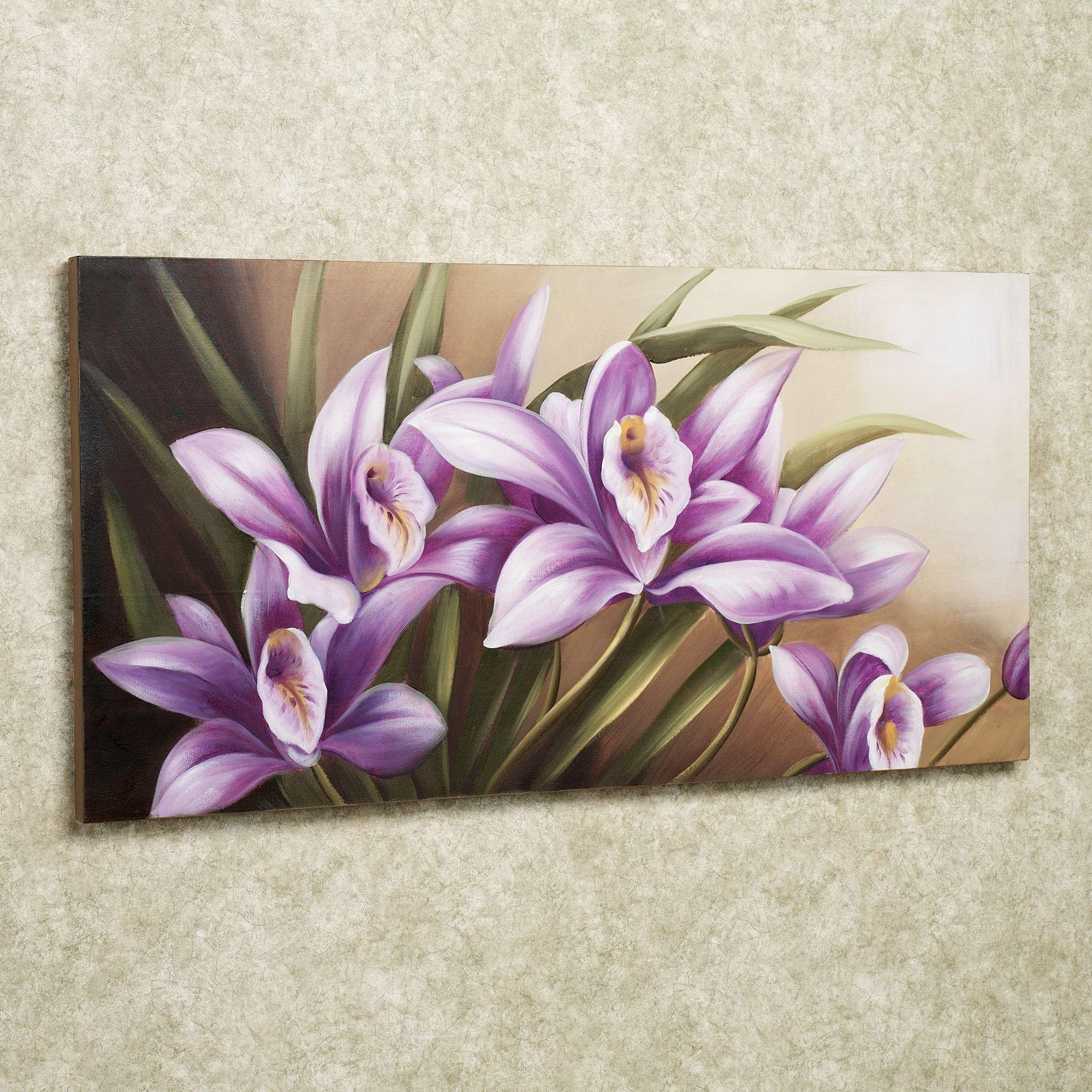 Wild Orchid Handpainted Floral Canvas Wall Art Throughout Purple Wall Art Canvas (Image 20 of 20)