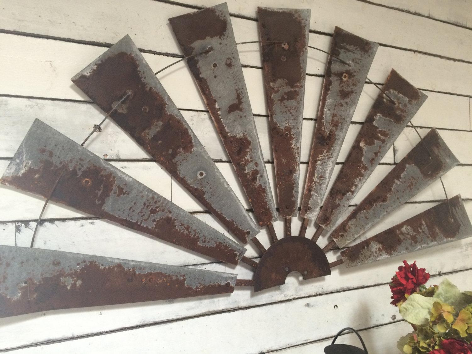 Windmill Half Metal Farmhouse Wall Art 60 Inch Gift With Regard To Farmhouse Wall Art (View 14 of 20)