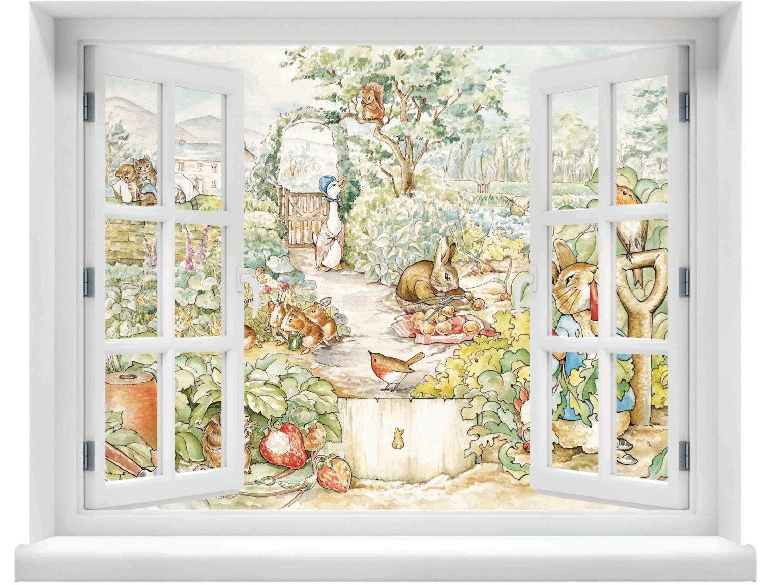 Window With A View Beatrix Potter Peter Rabbit Scene Wall With Peter Rabbit Wall Art (View 10 of 20)