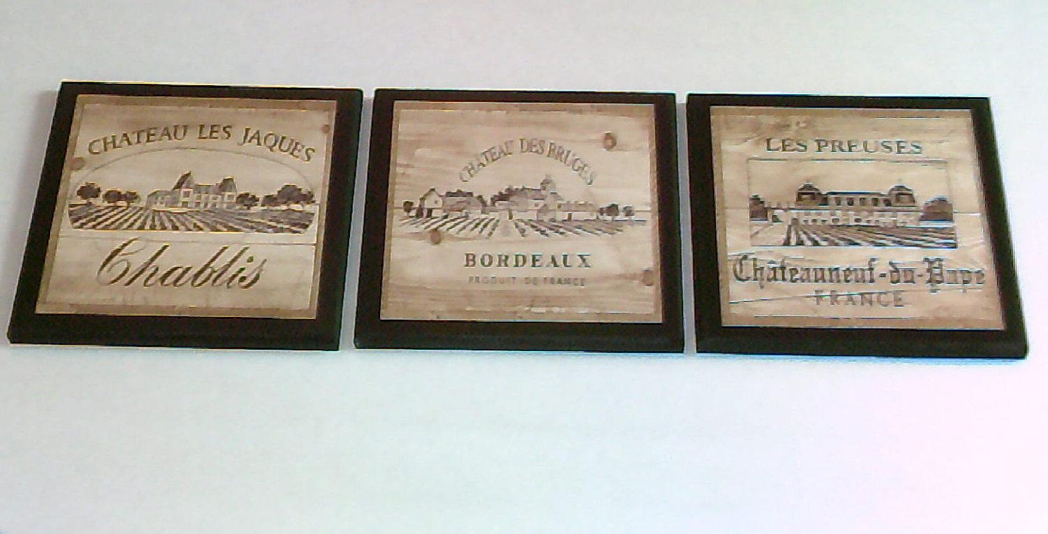 Wine Crate Label Style Kitchen Wall Decor Plaques 3Pc French Inside Wine Theme Wall Art (Image 18 of 20)