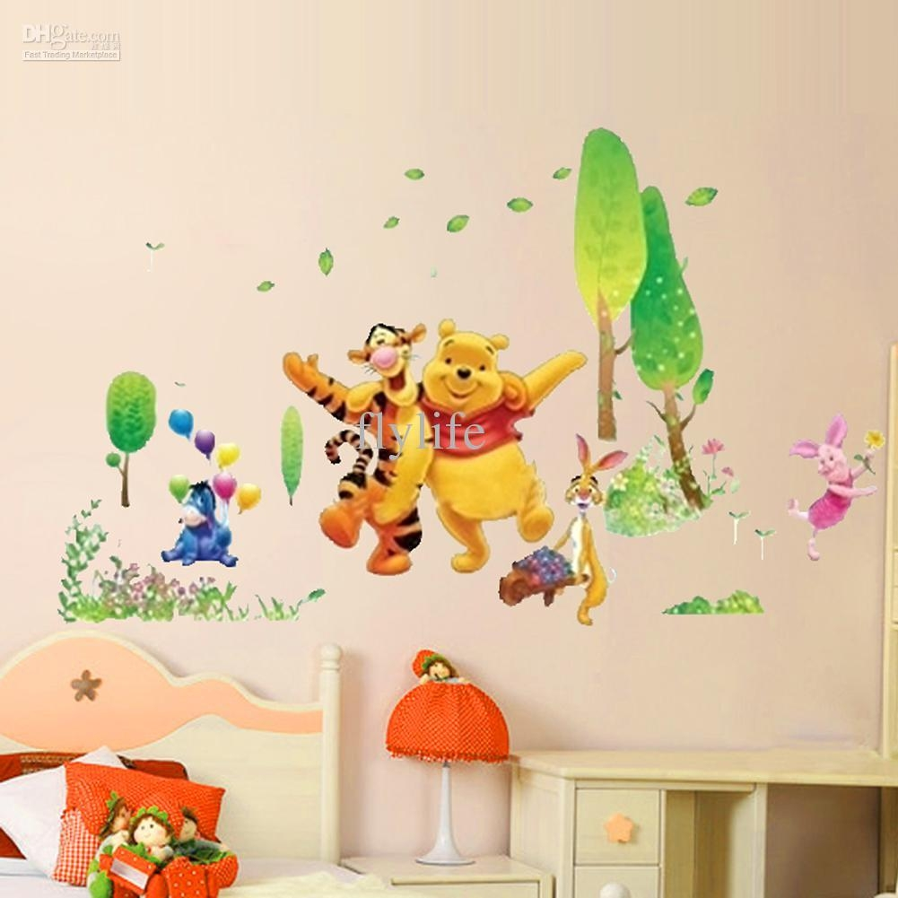 Winnie The Pooh And Happy Animals In Natural World, Cartoon Wall For Winnie The Pooh Wall Art For Nursery (Image 14 of 20)