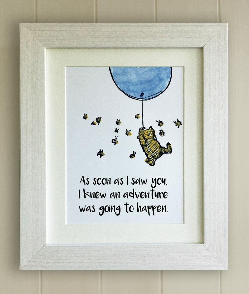 Winnie The Pooh Nursery | Ebay For Winnie The Pooh Nursery Quotes Wall Art (Image 16 of 20)
