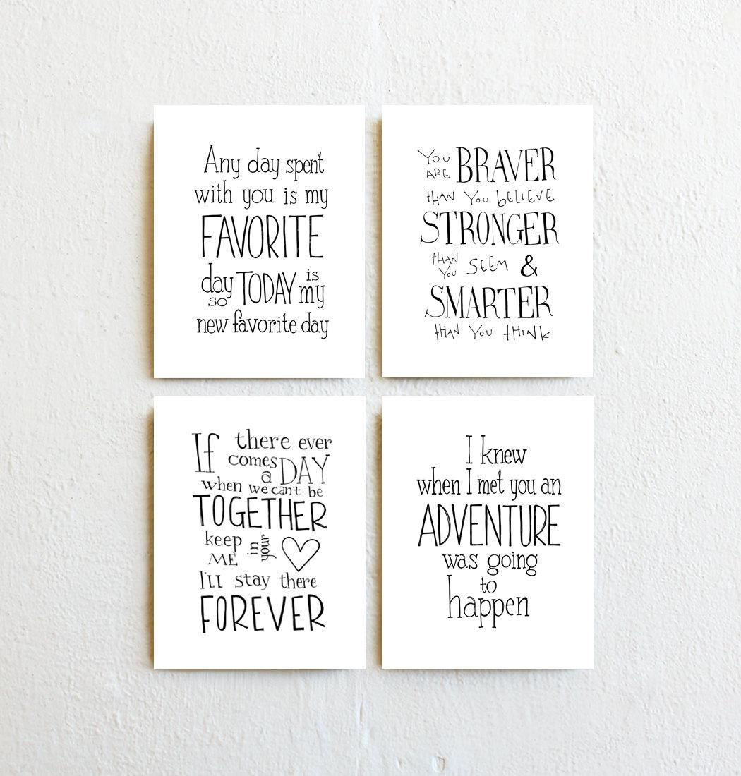 Winnie The Pooh Quote Prints Set Of 4 Inspirational With Winnie The Pooh Nursery Quotes Wall Art (Image 17 of 20)