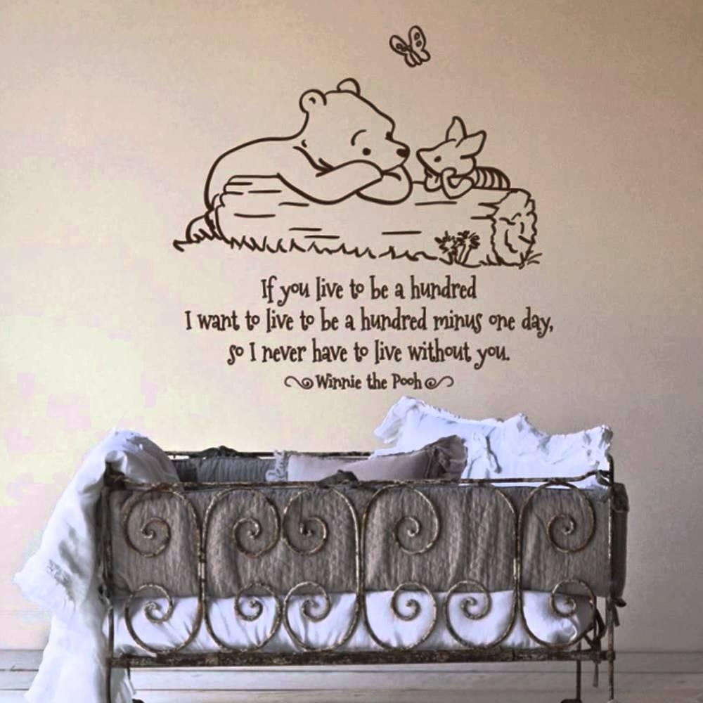Winnie The Pooh Words Quotes For Nursery Wall Decals Design With Throughout Winnie The Pooh Wall Decor (View 19 of 20)
