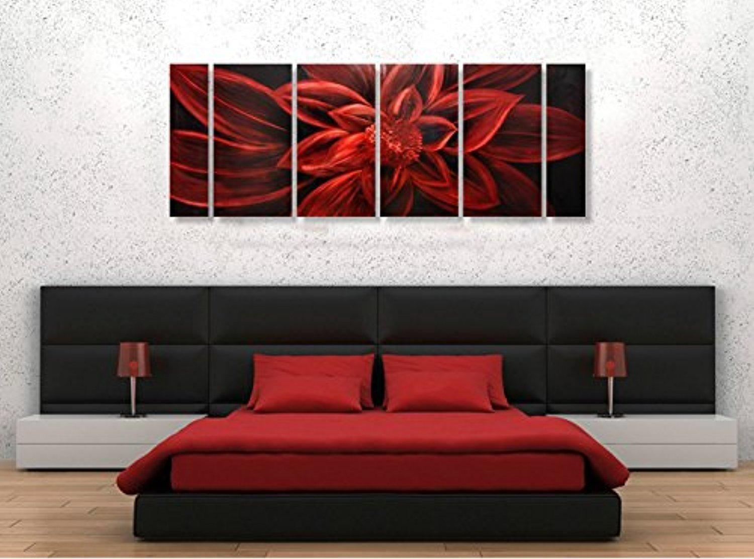 Winpeak Art Original Handcraft Red Abstract Flower Metal Wall Art With Red Flower Metal Wall Art (View 20 of 20)