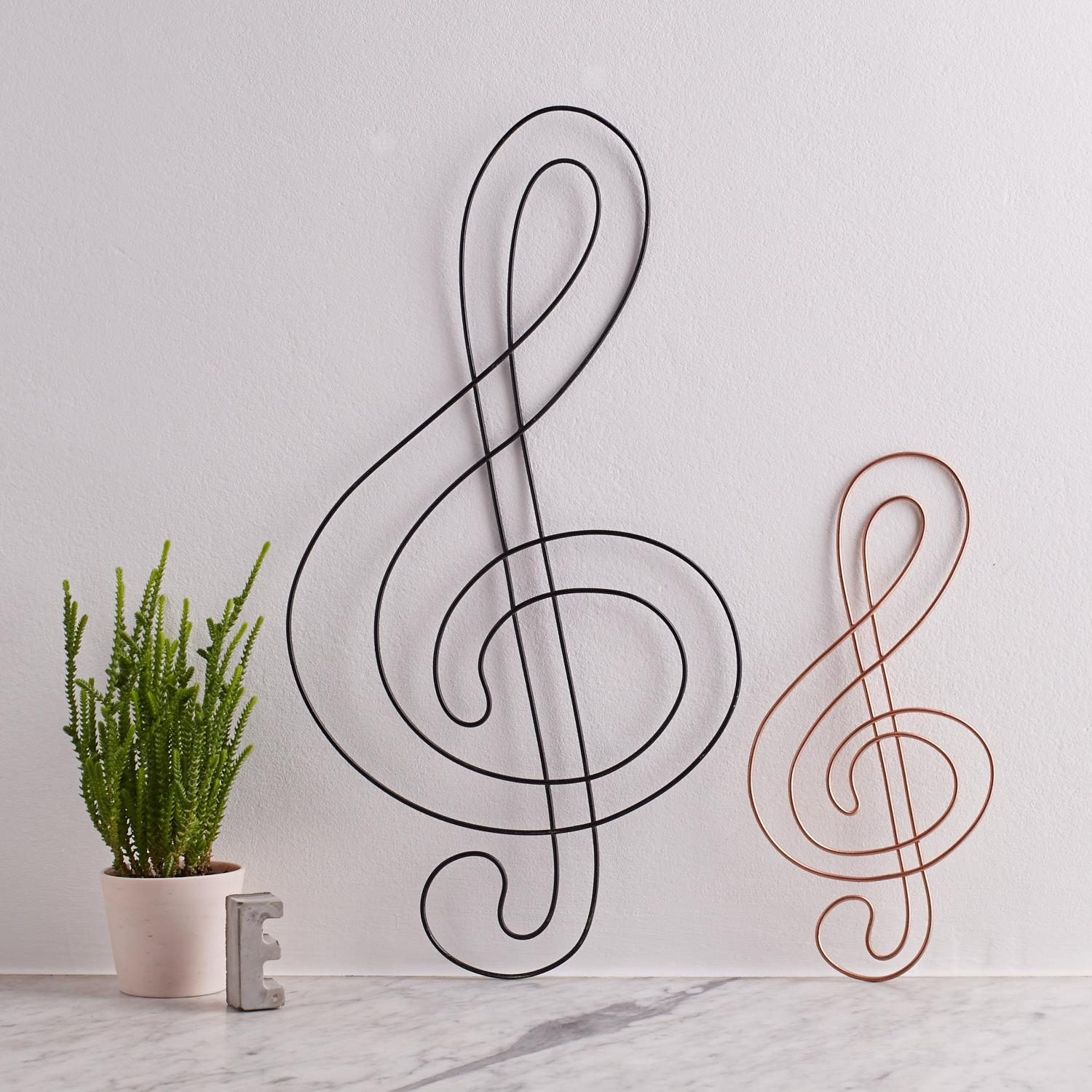 Wire Treble Clef Treble Clef Music Gift Gift For Musicians Throughout Wire  Wall Art Decors (