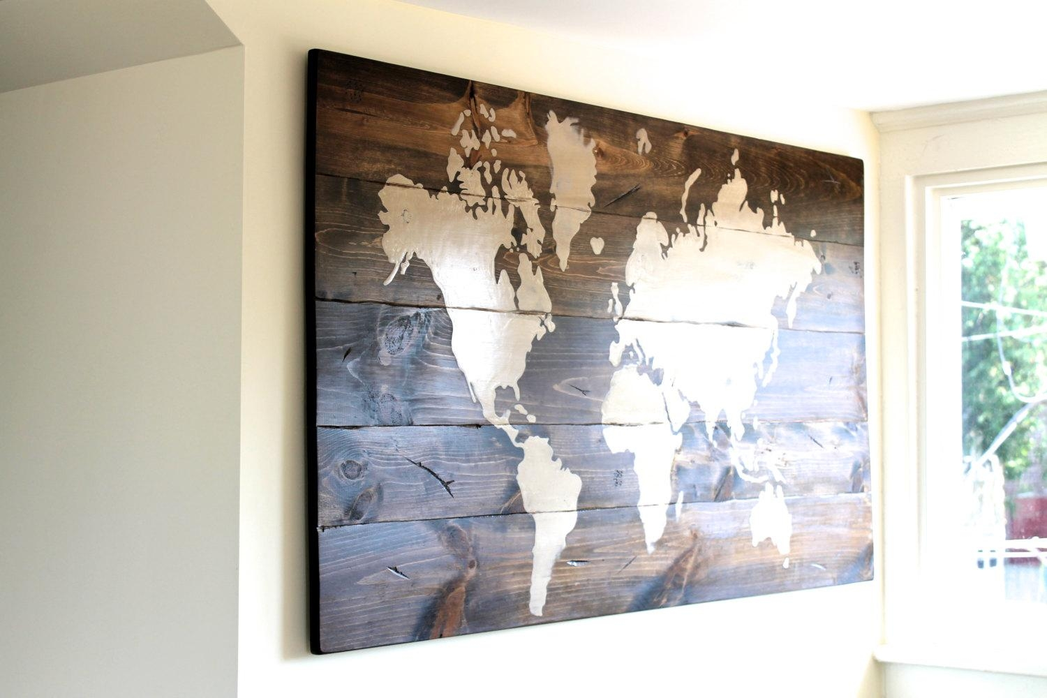 Wonderful World Map Wall Stickers Vinyl Art Decals Pcs Modern For Framed World Map Wall Art (View 7 of 20)