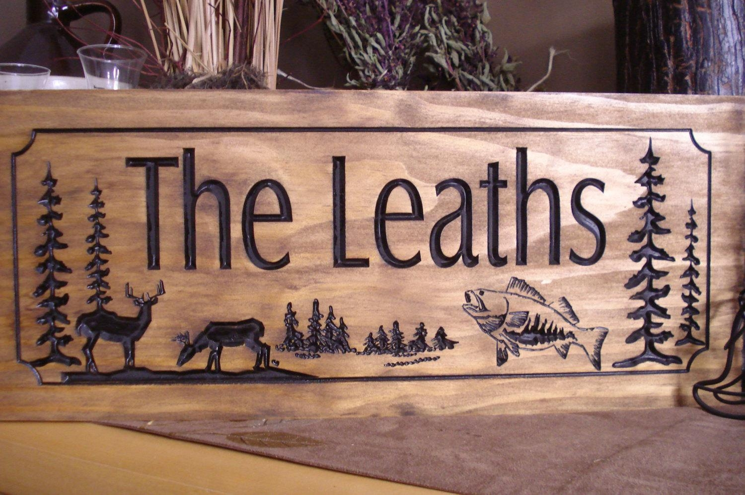 Wood Carved Ranch Cabin Signs Last Name Family Address Plaque Throughout Last Name Wall Art (Image 20 of 20)