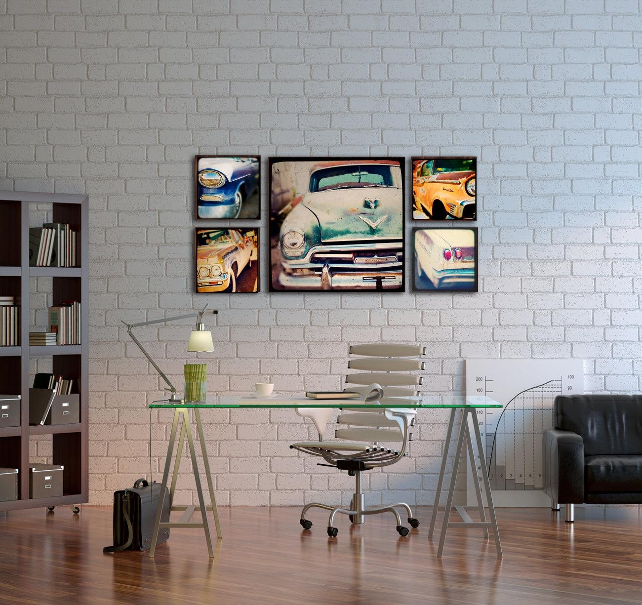 Wood Photo Blocks Vintage Cars Home Decor Wall Art For Wall Art For Offices (View 6 of 20)