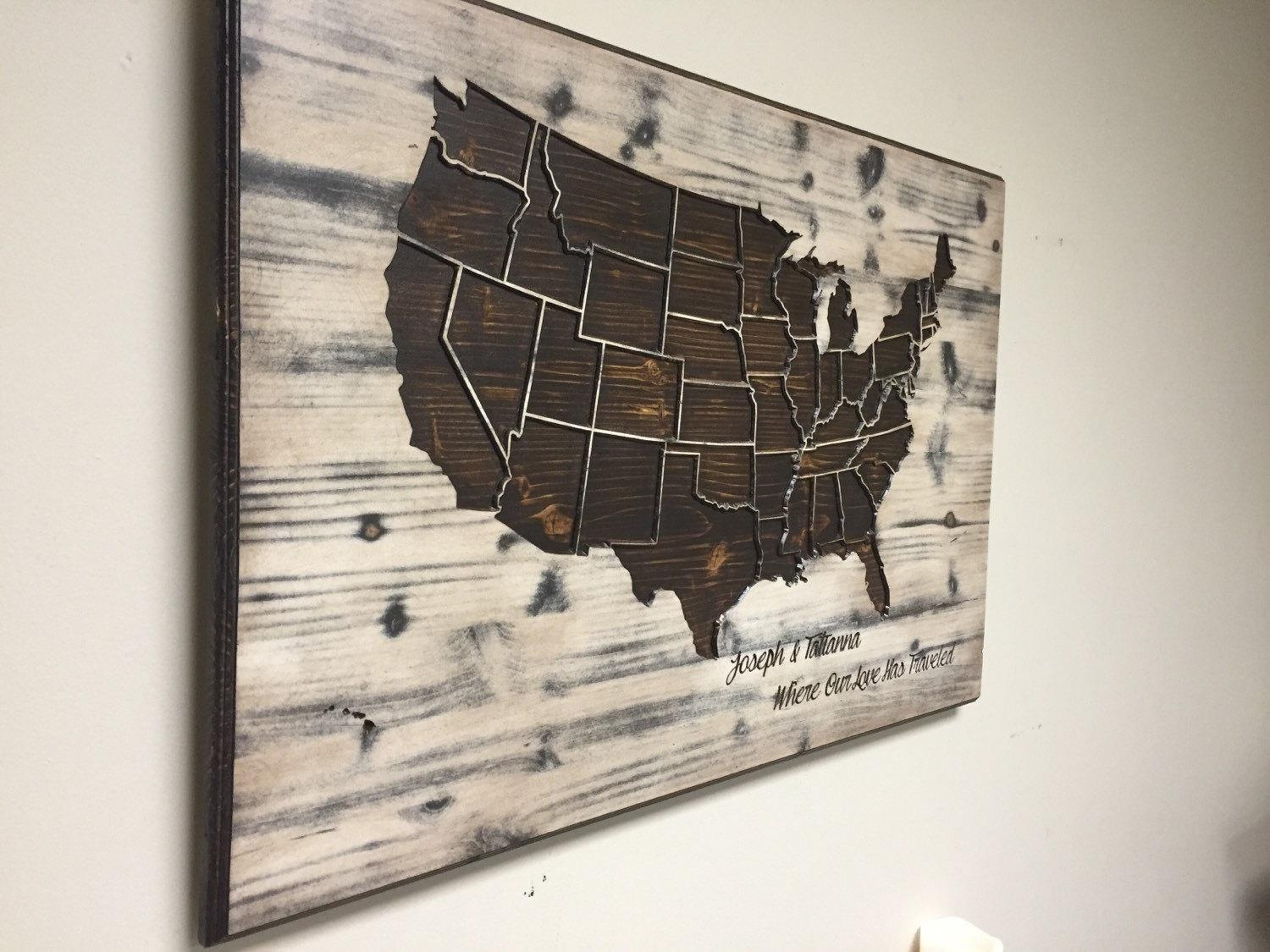 Wood Us Map Wall Art Carved United States Map Us Map With Within Us Map Wall Art (View 15 of 20)