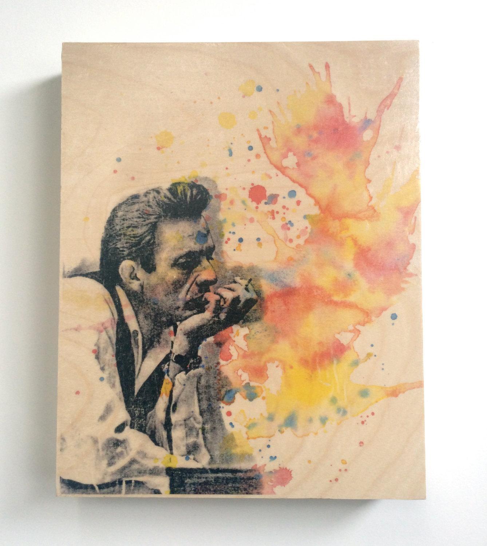 Wood Wall Art Panel Johnny Cash Art Print From Original Regarding Wooden Wall Art Panels (Image 17 of 20)