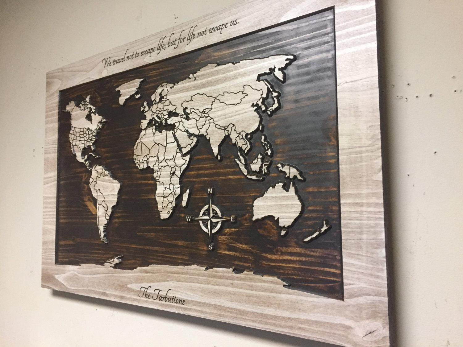 Wood Wall Art World Map Wall Art Carved Wooden World Map Regarding World Map Wood Wall Art (Image 12 of 20)