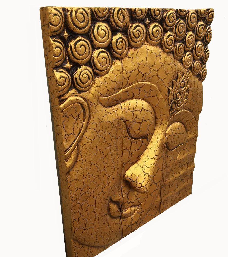 Wooden Buddha Golden Face Wall Art | Royal Thai Art In Buddha Wood Wall Art (View 12 of 20)