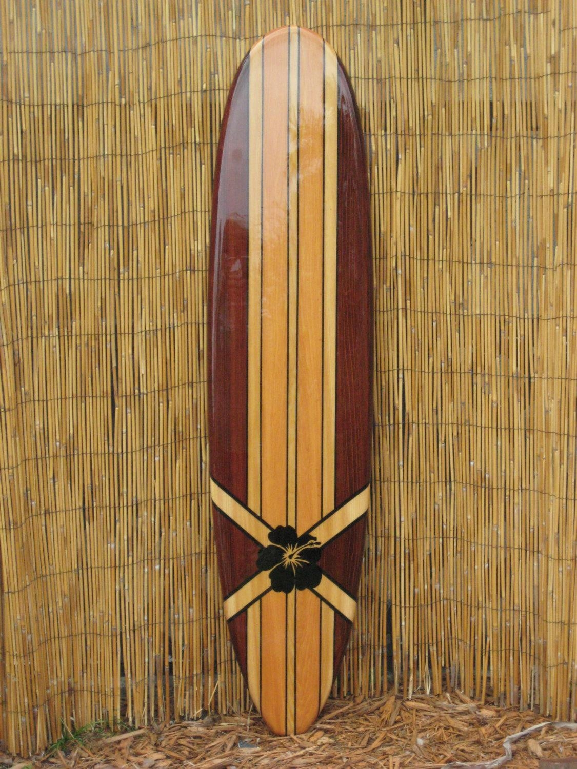 Wooden Decorative Surfboard Wall Art Wall Hanging Or Beach Within  Decorative Surfboard Wall Art (Image