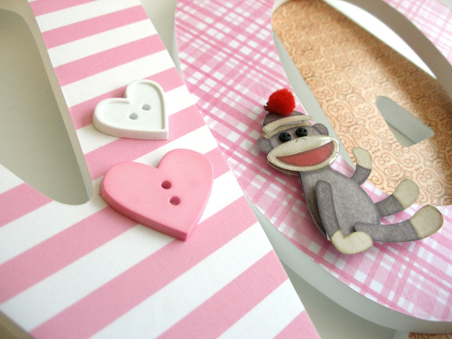 Wooden Wall Nursery Letters For Girls Pink And Brown Sock Pertaining To Sock Monkey Wall Art (View 9 of 20)