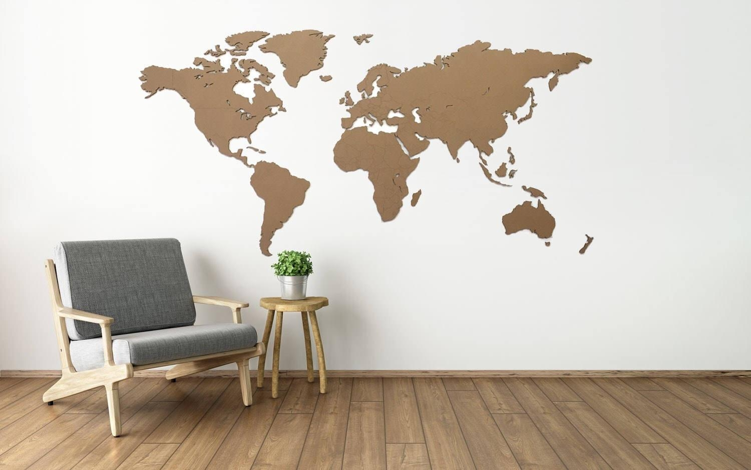 Wooden World Map Laser Cut 122Cm X 61Cm Regarding Wooden World Map Wall Art (Image 13 of 20)