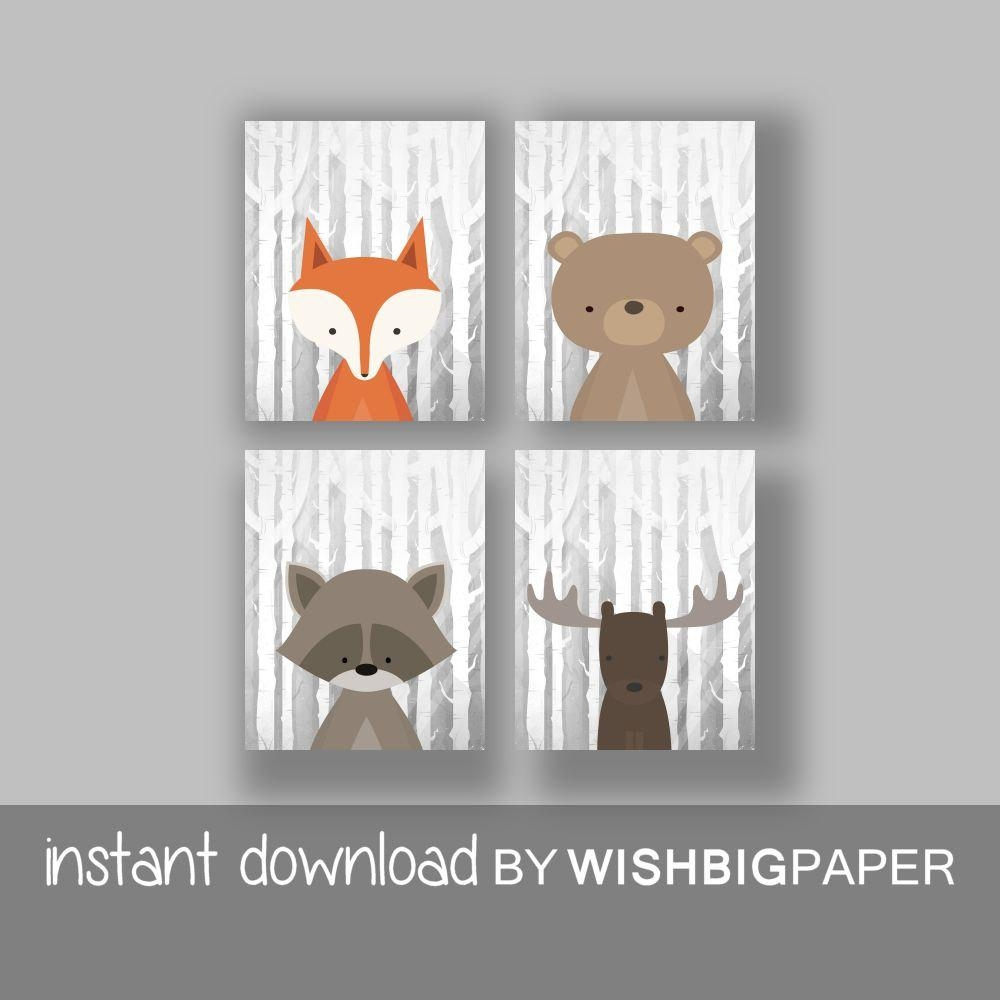 Woodland Animals Wall Art Print Set Of Four 4 Digital Inside Animal Wall Art (Image 20 of 20)