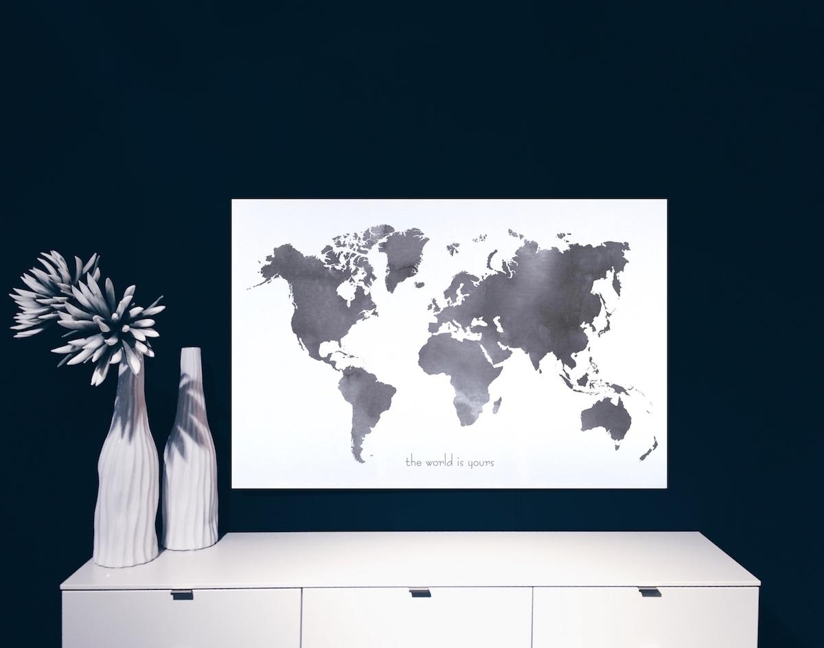 World Map Canvas Poster Black And White |Maja Waleska Throughout Large Black And White Wall Art (Image 19 of 20)