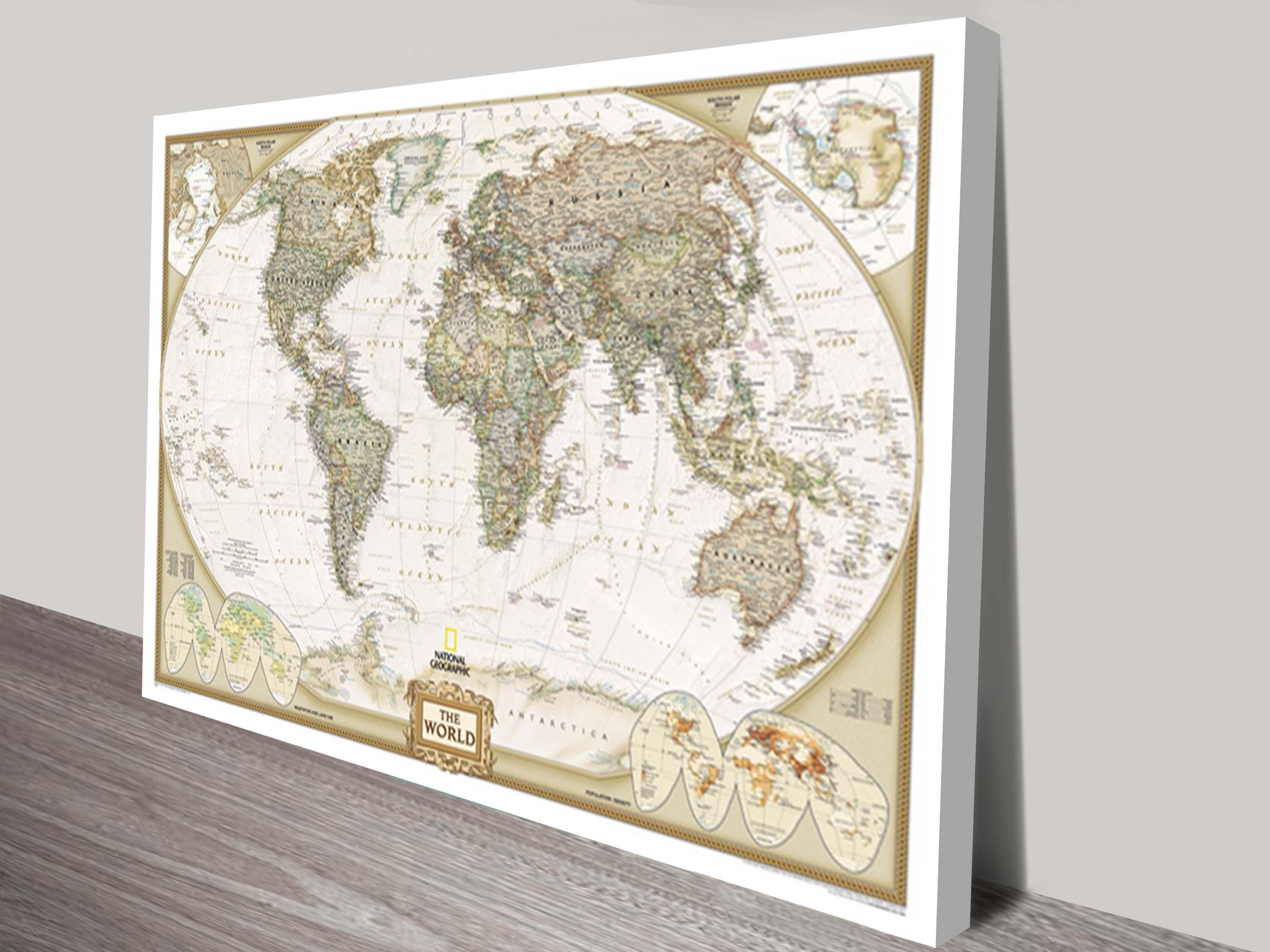 World Map Canvas Wall Art | Framed Maps Sydney Pertaining To Framed World Map Wall Art (View 8 of 20)