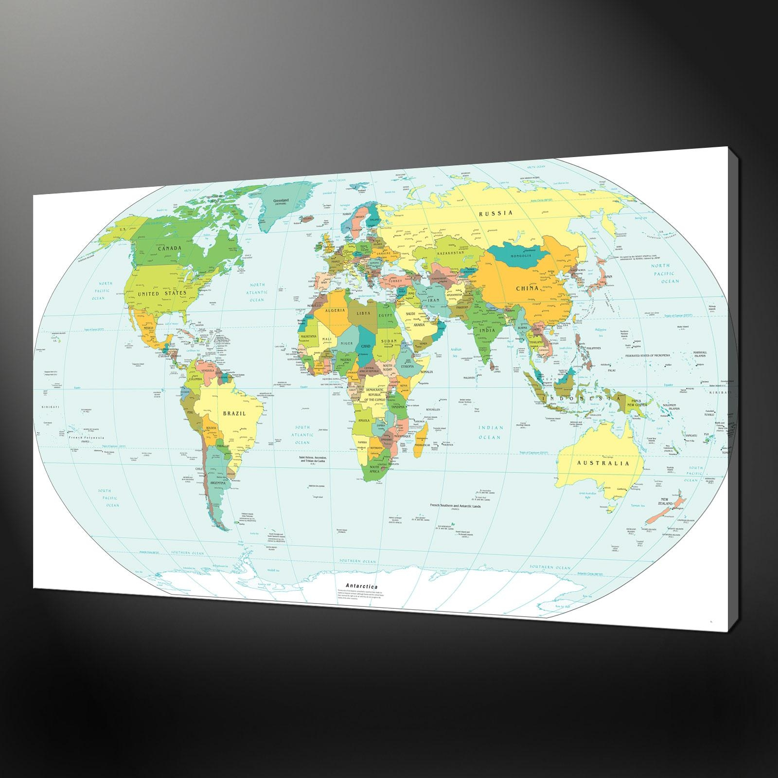 World Map Canvas Wall Art Picture Print Intended For World Wall Art (View 17 of 20)