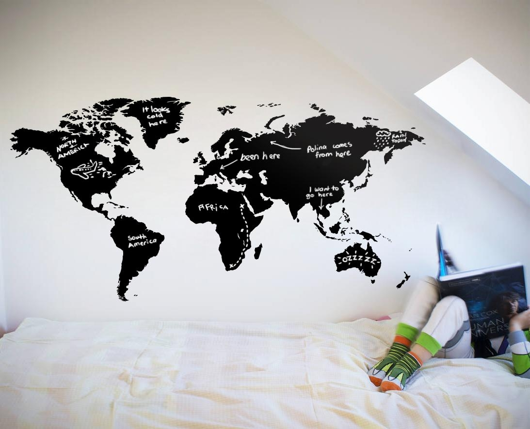 World Map Chalkboard – Your Decal Shop | Nz Designer Wall Art Pertaining To World Wall Art (Image 19 of 20)