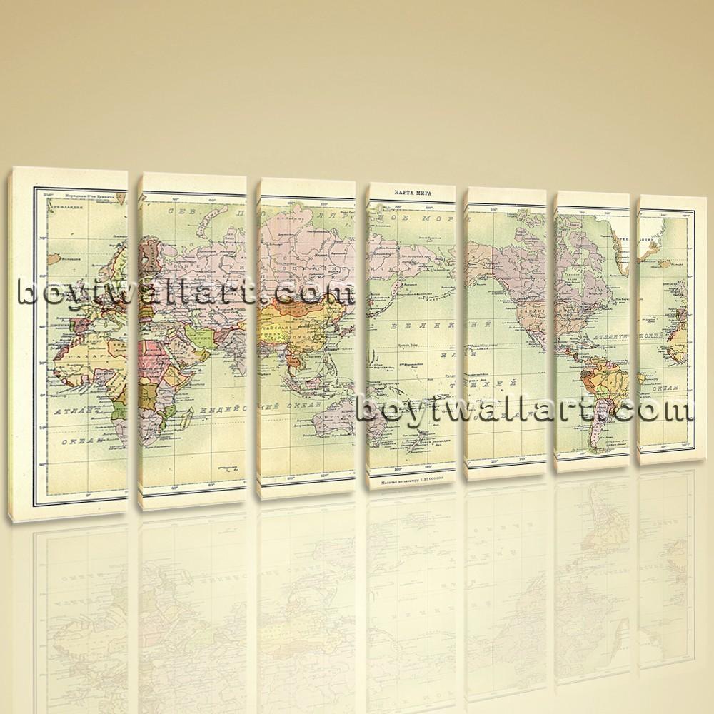 World Map Global Atlas Hd Print On Canvas Modern Wall Art Home Decor In Atlas Wall Art (View 11 of 20)