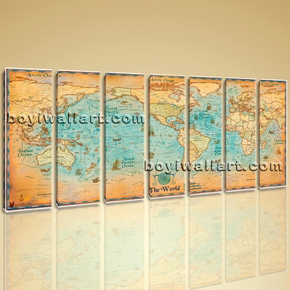 World Map Global Hd Canvas Print Retro Giant Picture Wall Art Decor Within Map Wall Art (View 15 of 20)